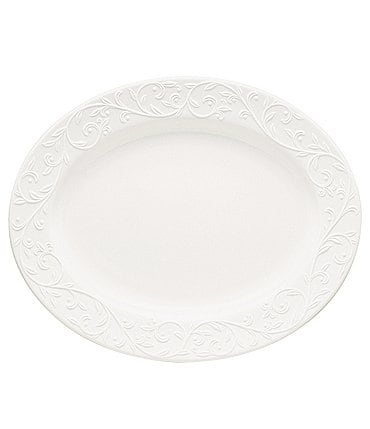 Image of Lenox Opal Innocence Carved Scroll Porcelain Oval Platter