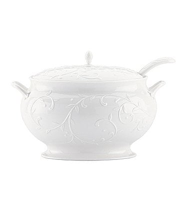 Image of Lenox Opal Innocence Carved Scroll Porcelain Soup Tureen with Ladle