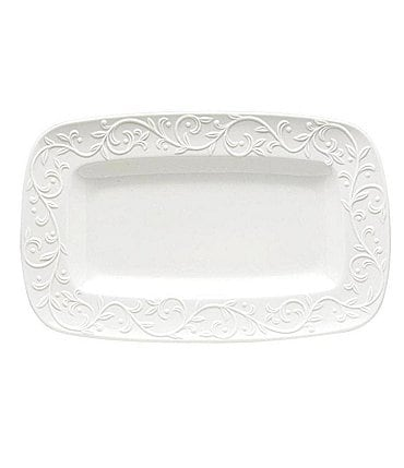 Image of Lenox Opal Innocence Carved Scroll Porcelain Tray