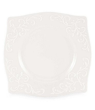 Image of Lenox Opal Innocence Carved Vine Porcelain Square Accent Salad Plate