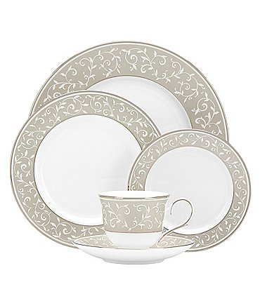 Image of Lenox Opal Innocence Dune Vine & Pearl Platinum Bone China 5-Piece Place Setting