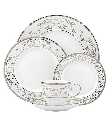 Image of Lenox Opal Innocence Silver Bone China 5-Piece Place Setting