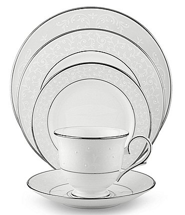 Image of Lenox Opal Innocence Vine & Pearl Platinum Opalescent Bone China 5-Piece Place Setting