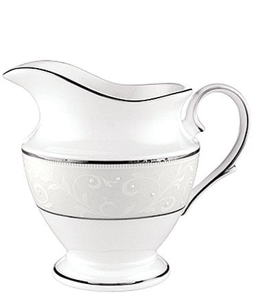 Image of Lenox Opal Innocence Vine & Pearl Platinum Opalescent Bone China Creamer