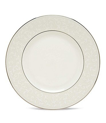 Image of Lenox Opal Innocence Vine & Pearl Platinum Opalescent Bone China Dinner Plate