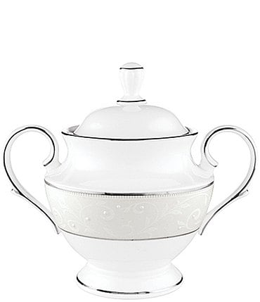 Image of Lenox Opal Innocence Vine & Pearl Platinum Opalescent Bone China Sugar Bowl with Lid