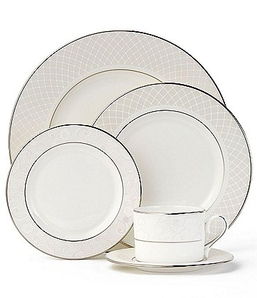 Image of Lenox Venetian Lace Platinum Bone China 5-Piece Place Setting