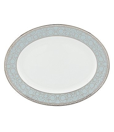 Image of Lenox Westmore Floral Platinum Bone China Oval Platter