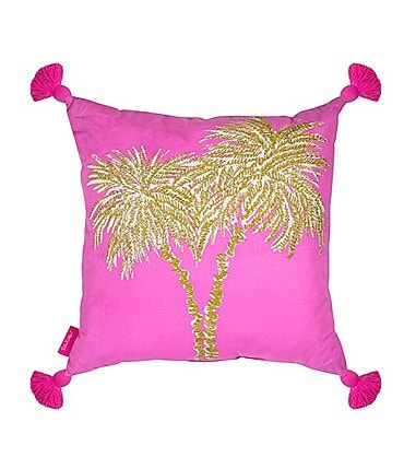 Image of Lilly Pulitzer Tasseled Metallic Palms Canvas Square Pillow