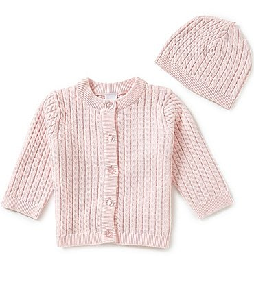 Image of Little Me Baby 3-12 Months Huggable Cable-Knit Sweater and Hat Set