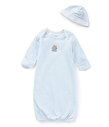 Image of Little Me Baby Boys Newborn-3 Months Chevron Bear Gown & Hat Set