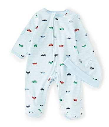 Image of Little Me Baby Boys Newborn-9 Months Long-Sleeve Car-Print Footed Coverall