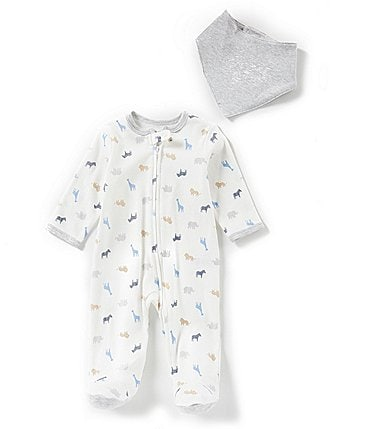 Image of Little Me Baby Boys Preemie-9 Months Long-Sleeve Safari-Printed Footed Coveral & Bib Set