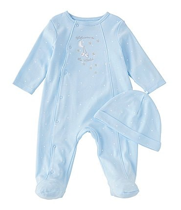 Image of Little Me Baby Boys Preemie-9 Months Long Sleeve Welcome Footed Coverall