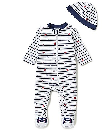 Image of Little Me Baby Boys Preemie-9 Months Sport Star Striped Footed Coverall & Hat Set