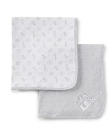 Image of Little Me Baby Safari 2-Pack Receiving Blankets