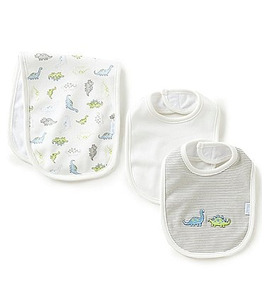 Image of Little Me Baby Boys Tiny Dinos Bib & Burp Cloth Set