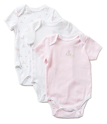 Image of Little Me Baby Bunnies Baby Girls Newborn-9 Months Bodysuit Three-Pack
