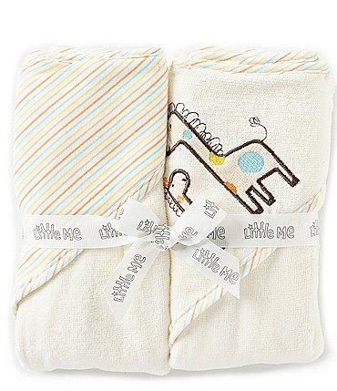 Image of Little Me Baby Giraffe 2-Pack Hooded Bathtub Towel Set