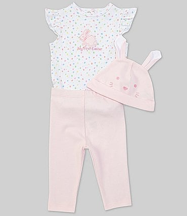 Image of Little Me Baby Girl 3-12 Months Flutter-Sleeve Bunny Bodysuit, Pants & Hat Set