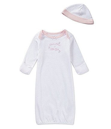 Image of Little Me Baby Girls Newborn-3 Months Thank Heaven for Little Girls Gown & Hat Set