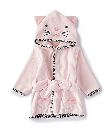 Image of Little Me Baby Girls Newborn-9 Months Leopard Kitten Hooded Bath Robe