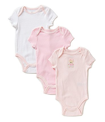 Image of Little Me Baby Girls Newborn-9 Months Sweet Bear 3-Pack Bodysuits