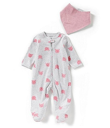 Image of Little Me Baby Girls Preemie-9 Months Bear Print Coverall & Bib Set