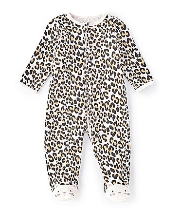 Image of Little Me Baby Girls Preemie-9 Months Leopard Print Footie