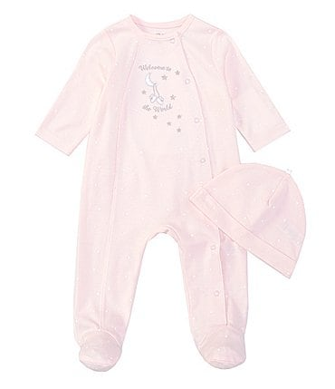 Image of Little Me Baby Girls Preemie-9 Months Long Sleeve Welcome Footed Coverall