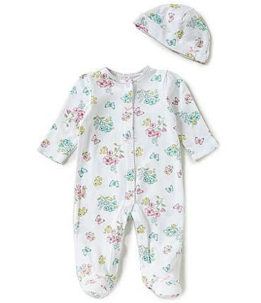 Image of Little Me Baby Girls Preemie-9 Months Meadow Floral Footed Coverall & Hat Set