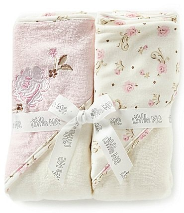 Image of Little Me Baby Girls Vintage Rose 2-Pack Hooded Bathtub Towel Set