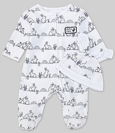 Image of Little Me Baby Newborn-9 Months Long-Sleeve Bunny Footed Coverall & Cap Set
