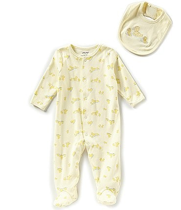 Image of Little Me Baby Preemie-9 Months Little Ducks Long-Sleeve Footed Coverall & Bib Set