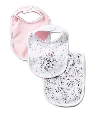 Image of Little Me Bird Toile Printed/Solid Bibs and Burpcloth Three-Piece Set