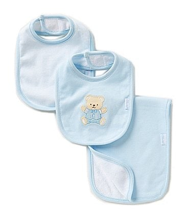 Image of Little Me Cute Bear 3-Piece Bib & Burp Cloth Set