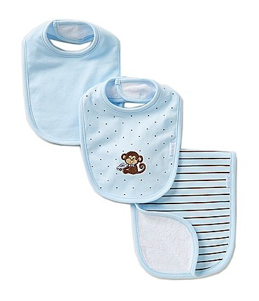 Image of Little Me Baby Boys Monkey Star Bib & Striped Burp Cloth Set