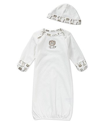 Image of Little Me Baby Newborn-3 Months Safari Gown & Hat Set