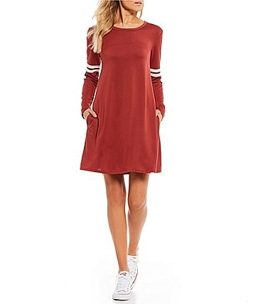 Image of Living Doll Varsity Ringer Long Sleeve T-Shirt Dress