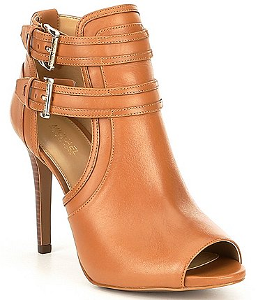 Image of MICHAEL Michael Kors Blaze Leather Peep Toe Buckle Detail Booties
