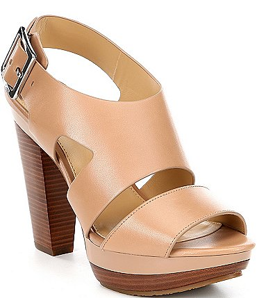 Image of MICHAEL Michael Kors Carla Leather Platform Block Heel Sandals