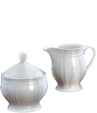 Image of Mikasa Antique White Porcelain Creamer & Sugar Bowl Set
