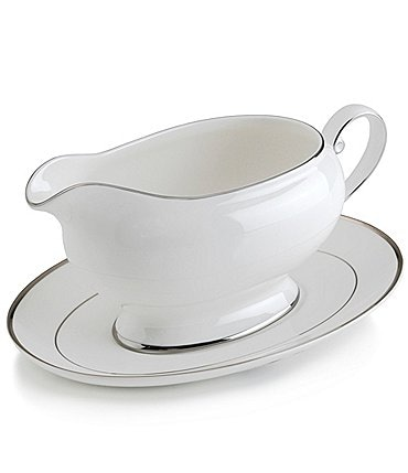 Image of Mikasa Cameo Platinum Porcelain Gravy Boat with Stand