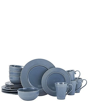 Image of Mikasa Fluted Blue Italian Countryside 16-Piece Dinnerware Set