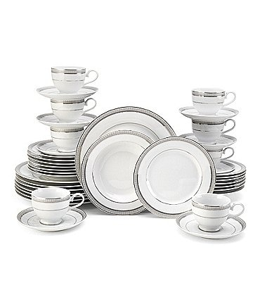 Image of Mikasa Platinum Crown Embossed Porcelain 40-Piece China Set