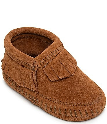Image of Minnetonka Kids' Riley Fringe Detail Suede Booties (Infant)