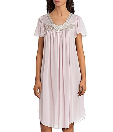 Image of Miss Elaine Silk Essence Solid Short Nightgown