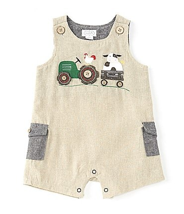 Image of Mud Pie Baby Boys Newborn-18 Months Farm Animal Shortall