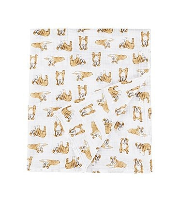 Image of Mud Pie Baby Bulldog Muslin Swaddle Blanket