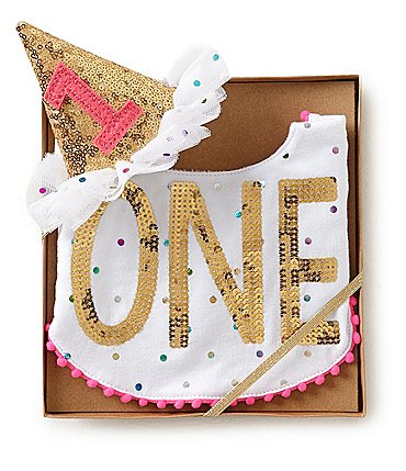 Image of Mud Pie Baby Girls Birthday One Dotted and Sequin Bib & Hat Set